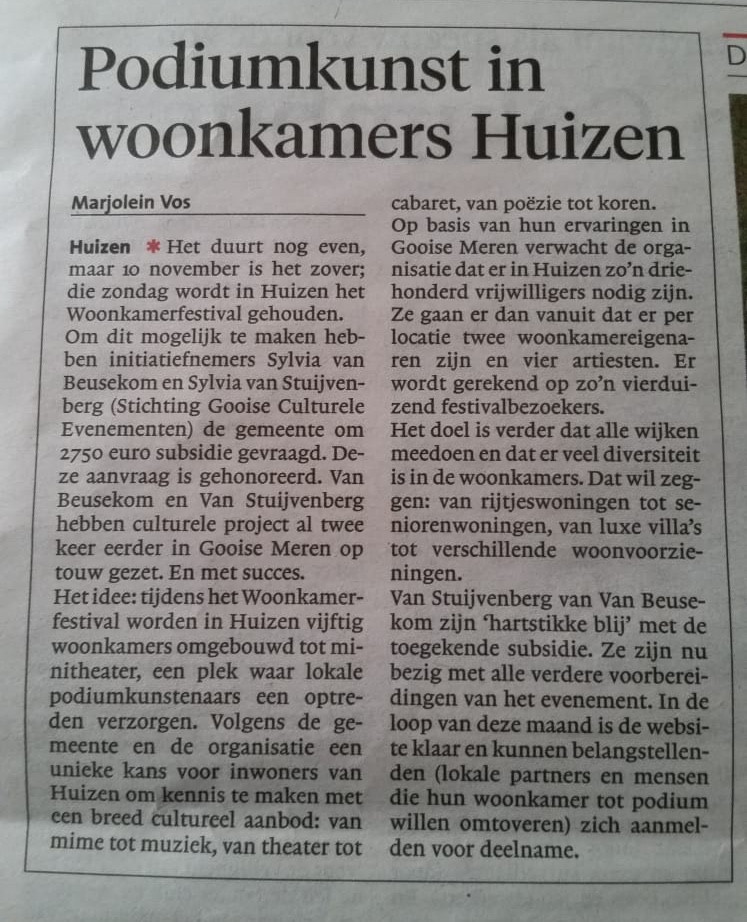 De bekendmaking van Woonkamerfestival Huizen!